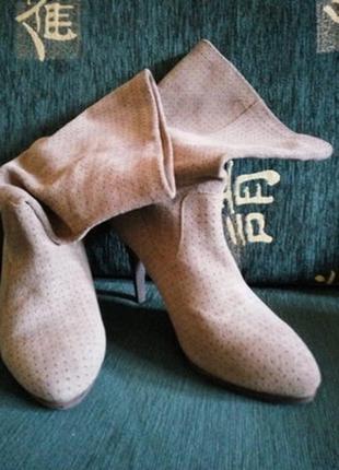 H&m . замшевые сапоги ботинки . легкие весене-осенние . новые . 100% натуральная замша.