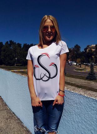 Стильная белая женская футболка sw 100% хлопок размер s2