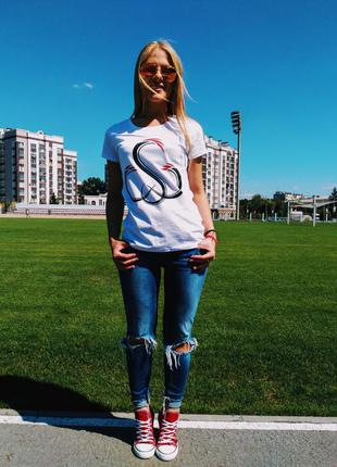 Стильная белая женская футболка sw 100% хлопок размер s3