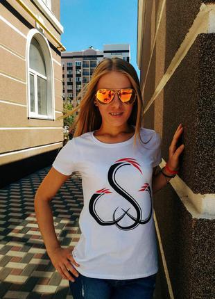 Стильная белая женская футболка sw 100% хлопок размер s4
