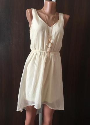 Брендове молочне шифонове платтячко stradivarius