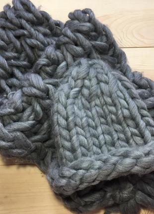 Набор bijou brigitte шапка и шарф из толстой крупной вязки хельсинки