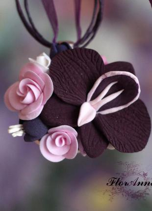 """Кулон из полимерной глины """"орхидея с розами"""""""