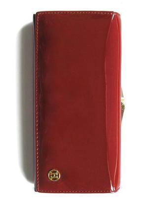 Большой вишневый кожаный лаковый кошелек, 100% натуральная кожа, доставка бесплатно.
