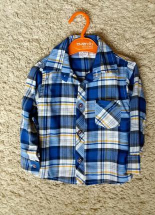 Рубашка в клетку, рост 86-92