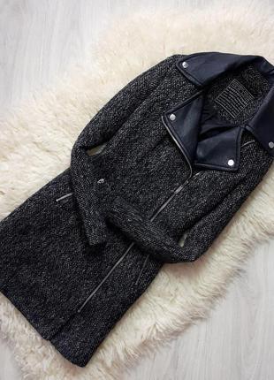 Пальто косуха new look с кожаным воротом 10