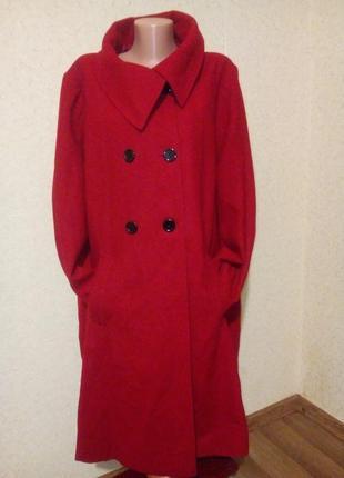Стильное шерстяное пальто 58-60 размер