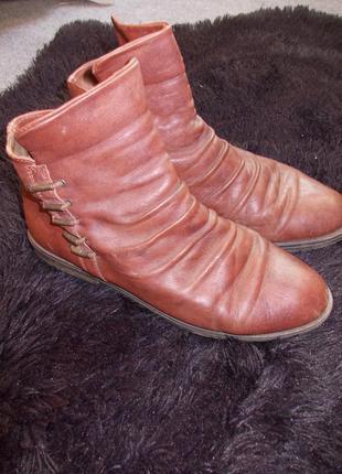 Кожаные коричневые демисезонные ботинки на низком ходу
