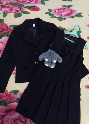 Школьная форма, костюм: сарафан, пиджак