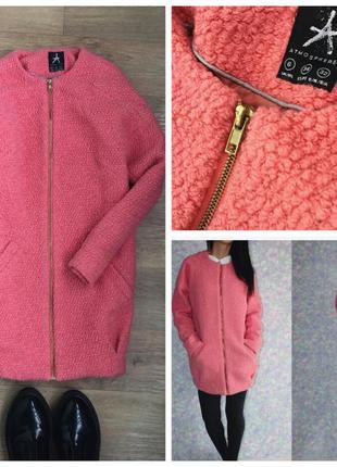 Розовое шерстяное пальто-кокон, тёплое