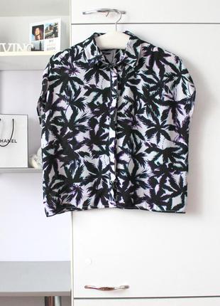 Шифоновая рубашка в пальмы от f&f