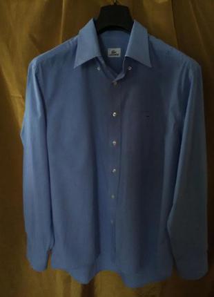 Мужская рубашка голубого цвета lacoste разм.ворота43 (52муж)