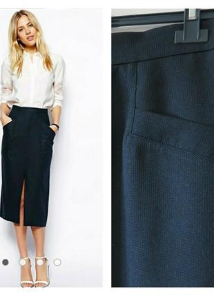 Фактурная юбка миди с разрезом спереди