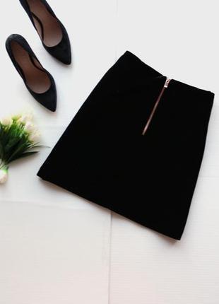 Крутая юбка из велюра с молнией сзади