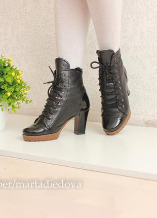 Кожаные ботинки ботильоны, натуральная комбинированная кожа, бренд inblu