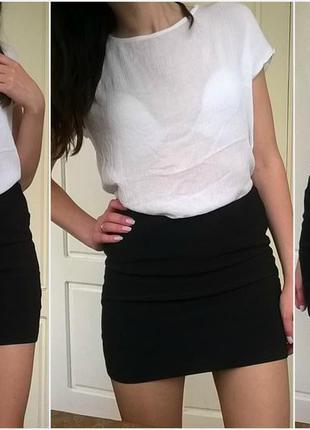 Бандажная чёрная мини юбка topshop