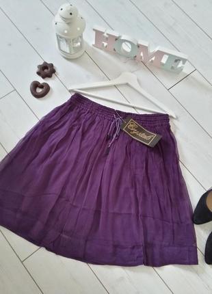 Легкая натуральная юбочка миди в лилово-фиолетовом цвете..