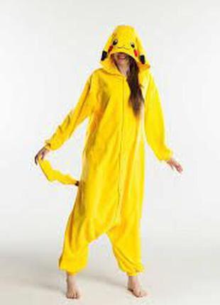 Нереальный плюшевый покемон пикачу кигуруми пижама костюм карнавальный лыжный l до 177