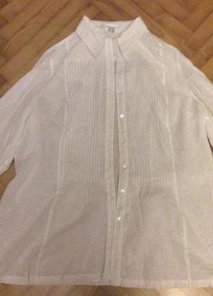 Белая свободная блуза от peter hahn! p.-48! батал!