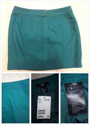 Зеленая теплая мини юбка