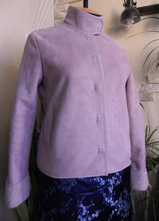 Классная курточка  на меху, на кнопках, розово-серого цвета  48р. next