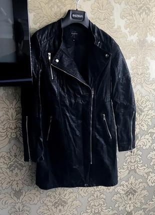 Супермодное красивое черное кожаное длинное пальто косуха от reserved