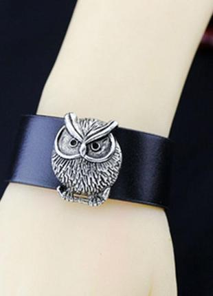 Кожаный браслет сова