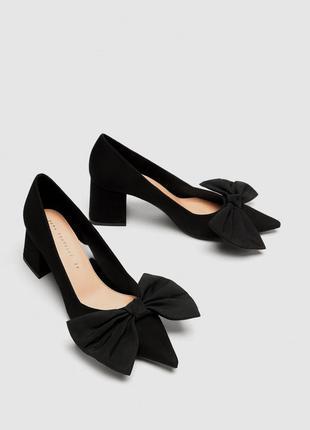 Туфли с бантом на среднем каблуке zara