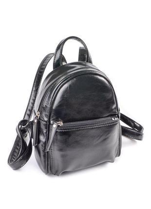 Маленький женский рюкзак черный глянцевый городской мини