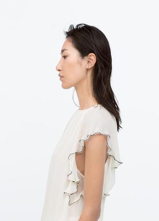 Zara блуза с воланом, xs-s