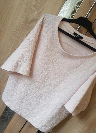 Пудровая фактурная блуза оверсайз