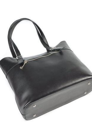Черная кожаная женская сумка на плечо с длинными ручками