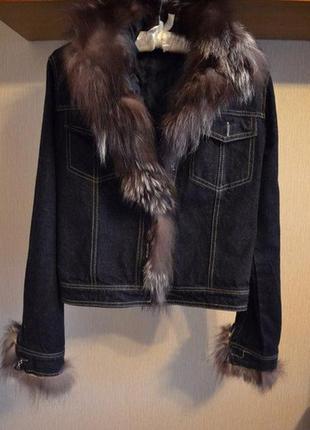 !джинсовка утеплённая с мехом натуральным лиса чернобурка