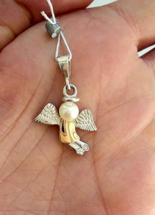 """Підвіска кулон """"ангелик з перлиною"""",подвеска ангел с жемчугом,ангелочек,срібло 925,серебро"""