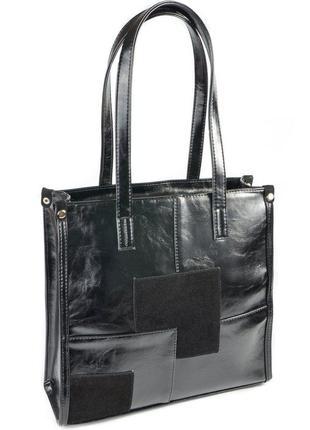 Черная деловая квадратная сумка с длинными ручками черный глянец с замшевой вставкой