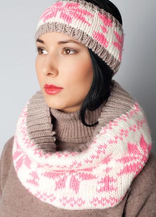 Зимний набор:шапочка, снуд и варежки-митенки