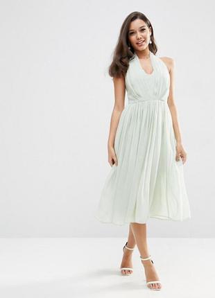 Мятное вискозное платье миди asos,р-р 18