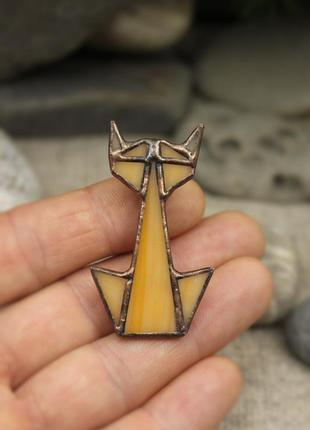 Брошь оранжевый кот оригами брошь