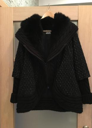 Эксклюзивная чёрная тёплая куртка натуральный мех (бесплатная доставка)