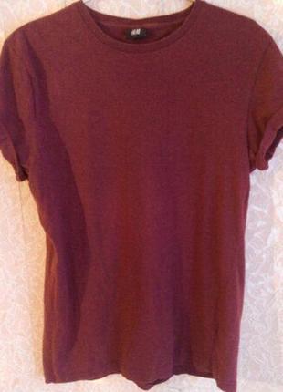 Бордовая футболка h&m