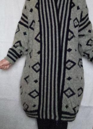 Роскошное вязаное пальто кардиган оверсайз, мохер, шерсть