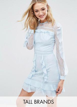 True decadence для asos ажурное голубое платье воланы