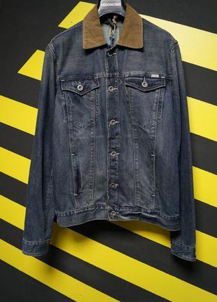 Джинсовая куртка с вельветовым воротником