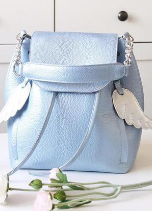 Рюкзак-сумка голубой перламутр, кожа
