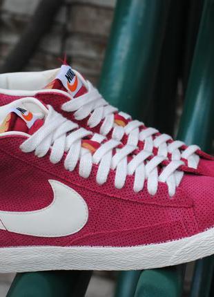 Розовые замшевые высокие кроссовки, кеды nike blazer, найк блейзер ... a6670fe857d