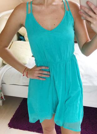 Шифоновое платье бирюзовое мятное