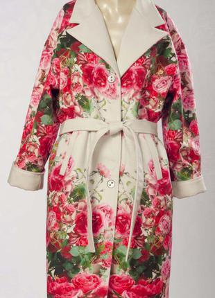 Пальто из искуственного кашемира с авторским принтом «болгарская роза» loranso