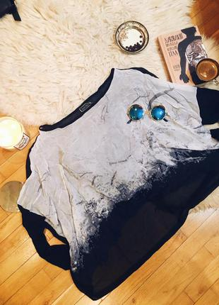 Оригинал mint velvet серая чёрная с рисунком асимметричная свободная кофта