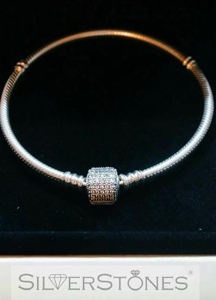 "Pandora/пандора браслет основа ""pave"" паве арт. 590723cz оригинал"