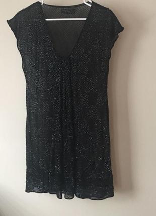 Allsaints коктельное платье  ручная вышивка 100% шелк
